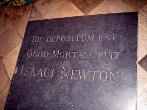 Newton's grave Westminster Abbey